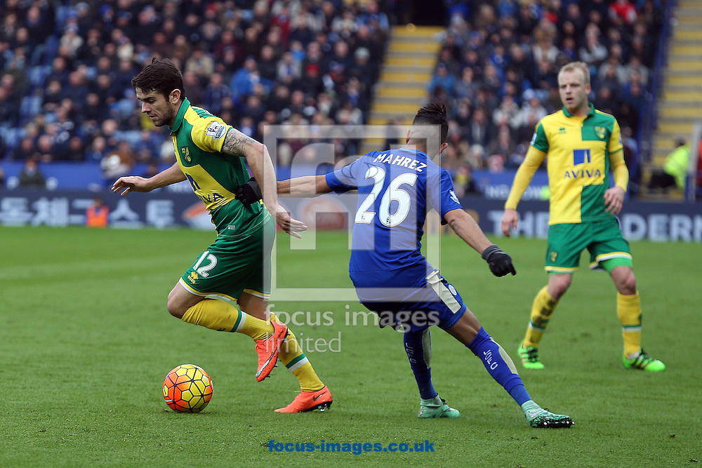 Robbie Brady of Norwich and Riyad Mahrez of Leicester City in action during the Barclays Premier League match at the King Power Stadium, Leicester<br /> Picture by Paul Chesterton/Focus Images Ltd +44 7904 640267<br /> 27/02/2016