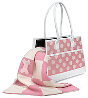 pink and white leather dog carrier purse with pink and white blanket