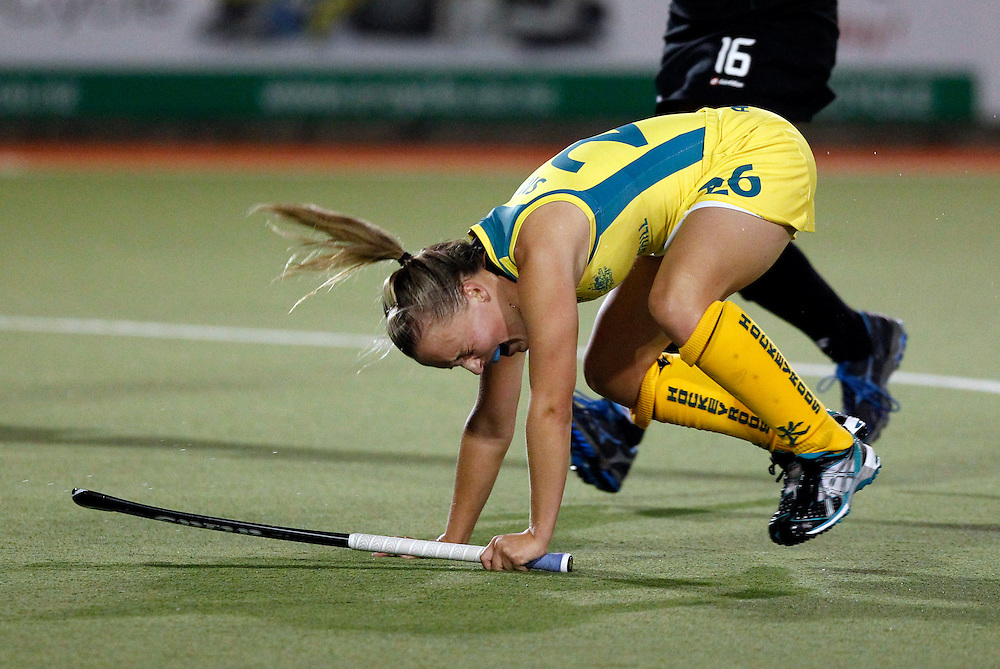 Australia's Emily Smith reacts after missing a shot against New Zealand during their four nations hockey final at North Harbour Hockey Stadium, Auckland, New Zealand, Monday, April 16, 2012. Credit:SNPA / Ben Campbell..