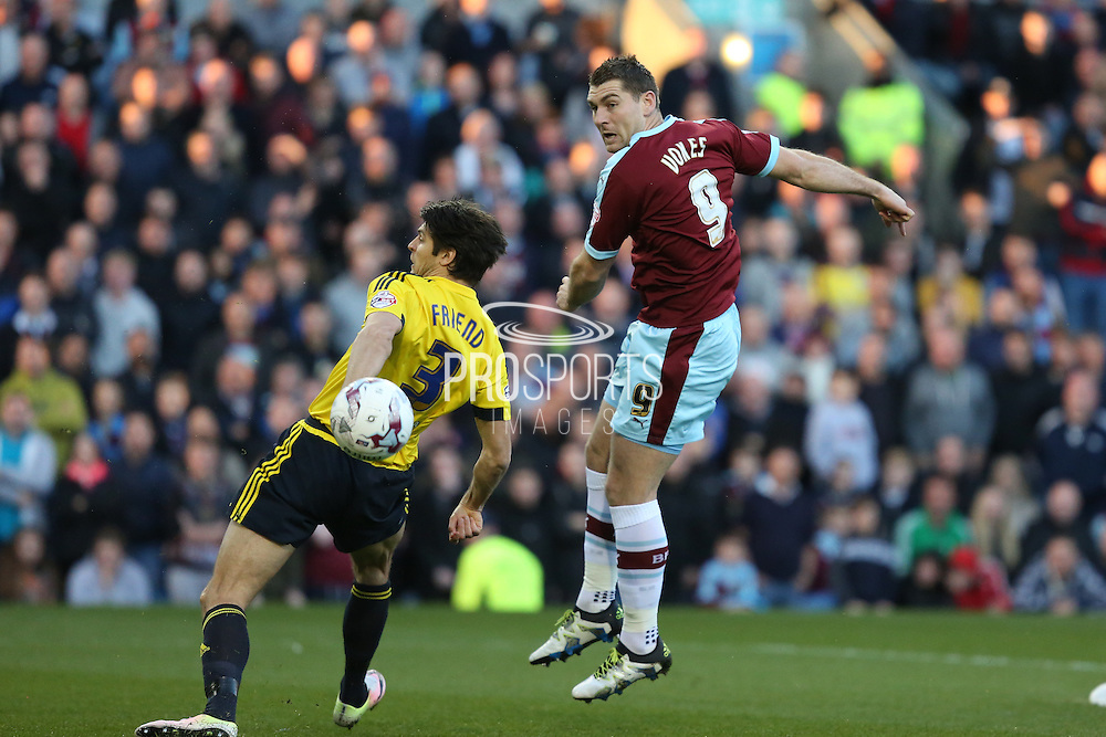 Sam Vokes of Burnley watches an early shot go wide during the Sky Bet Championship match between Burnley and Middlesbrough at Turf Moor, Burnley, England on 19 April 2016. Photo by Simon Brady.