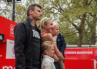 Paula Radcliffe with her family immediately after completing her last marathon in The Virgin Money London Marathon, Sunday 26th April 2015.<br /> <br /> Scott Heavey for Virgin Money London Marathon<br /> <br /> For more information please contact Penny Dain at pennyd@london-marathon.co.uk
