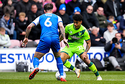 Onel Hernandez of Norwich City takes Danny Fox of Wigan Athletic - Mandatory by-line: Robbie Stephenson/JMP - 14/04/2019 - FOOTBALL - DW Stadium - Wigan, England - Wigan Athletic v Norwich City - Sky Bet Championship