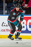 KELOWNA, CANADA - SEPTEMBER 22: Tomas Soustal #15 of the Kelowna Rockets warms up with the puck against the Kamloops Blazers on September 22, 2017 at Prospera Place in Kelowna, British Columbia, Canada.  (Photo by Marissa Baecker/Shoot the Breeze)  *** Local Caption ***