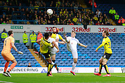 Leeds United's Chris Wood (9) has a shot on goal during the EFL Sky Bet Championship match between Leeds United and Burton Albion at Elland Road, Leeds, England on 29 October 2016. Photo by Richard Holmes.