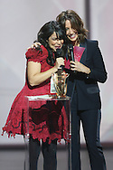 PARIS, FRANCE - FEBRUARY 13:  Indila receives award during Les Victoires De La Musique at Le Zenith on February 13, 2015 in Paris, France.  (Photo by Tony Barson/FilmMagic)