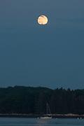Moon Over Sailboat, Castine, Maine, US