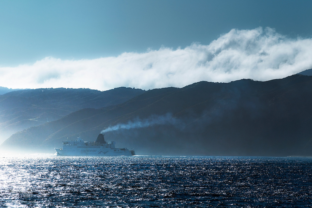 An 'Interislander' ferry enters Wellington harbor via Chaffers Passage, New Zealand.