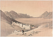 The Convent of St. Catherine, Mount Sinai, Looking towards the Plain of the Encampment Color lithograph by David Roberts (1796-1864). An engraving reprint by Louis Haghe was published in a the book 'The Holy Land, Syria, Idumea, Arabia, Egypt and Nubia. in 1855 by D. Appleton & Co., 346 & 348 Broadway in New York.