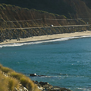 Detail of mountains and ocean. Pacific Coast Highway. Camarillo,CA.USA.