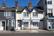 Attractive historic buildings and shops, Aldeburgh, Suffolk, England, UK