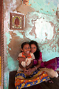 India. Girls at home in Tranquebar.