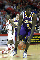 09 January 2007: Eric Coleman picks up a pass. The Illinois State Redbirds, winless in the Missouri Valley Conference, knocked off the undefeated  Panthers of Northern Iowa 67-64 in overtime at Redbird Arena in Normal Illinois on the campus of Illinois State University.<br />