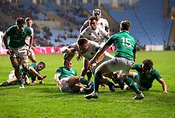 Joe Heyes of England U20 scores a try - Mandatory by-line: Robbie Stephenson/JMP - 16/03/2018 - RUGBY - Ricoh Arena - Coventry, England - England U20 v Ireland U20 - Six Nations U20