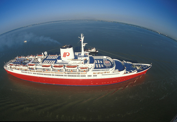 Aerial view of a cruise liner travelling the ocean