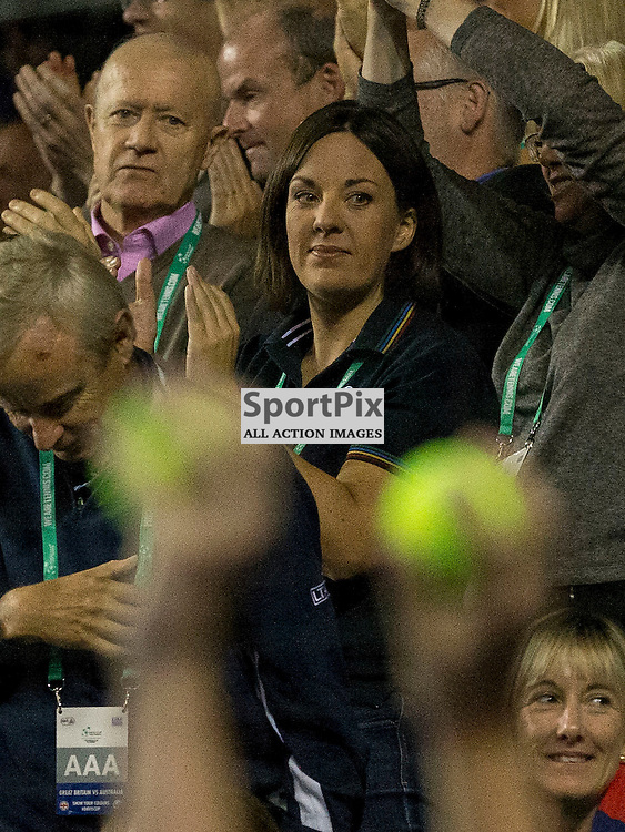 Davis Cup semi-final: Great Britain v Australia<br /> <br /> Kezia Dugdale watches Andy Murray v Bernard Tomic during Sunday's first Rubber.<br /> <br /> <br /> Picture: Alan Rennie