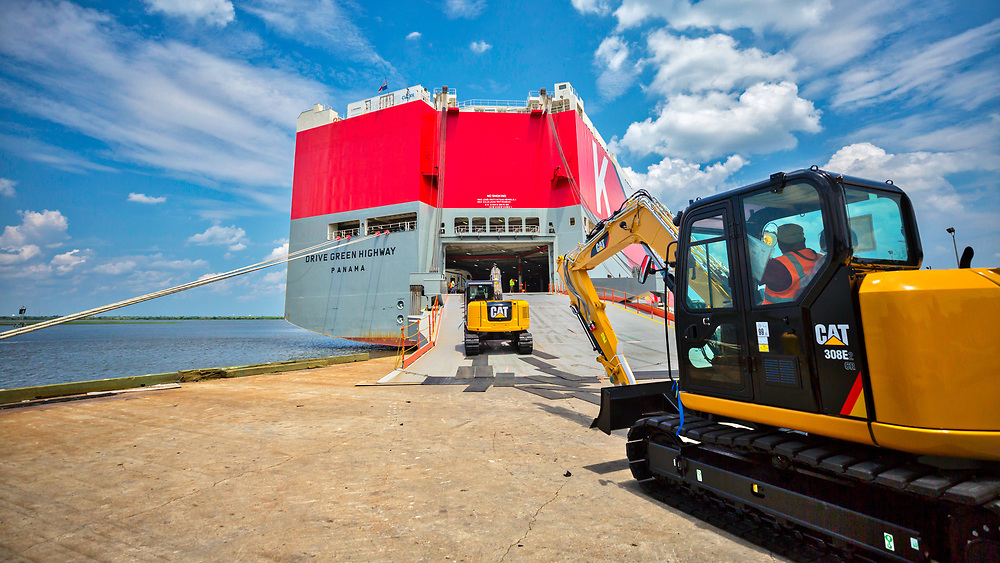 ROROs import and export vehicles at the Georgia Ports Authority Colonials Island facility, Friday, Feb., 10, 2017, in Brunswick, Ga.  (GPA Photo/Stephen B. Morton)