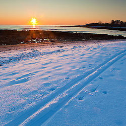 Cross country ski tracks in fresh snow on the New Hampshire coast in Odiorne State Park in Rye, New Hampshire.  Winter.