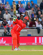 Keaton Jennings of Lancashire attacks during the Vitality T20 Finals Day Semi Final 2018 match between Worcestershire Rapids and Lancashire Lightning at Edgbaston, Birmingham, United Kingdom on 15 September 2018.