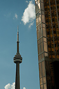 The landmark CN Tower in Toronto's financial district.