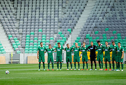 Players of Olimpija prior to the football match between NK Olimpija and NK Krka in Round 1 of Prva liga Telekom Slovenije 2014/15, on July 19, 2014 in SRC Stozice, Ljubljana, Slovenia. Photo by Vid Ponikvar / Sportida.com