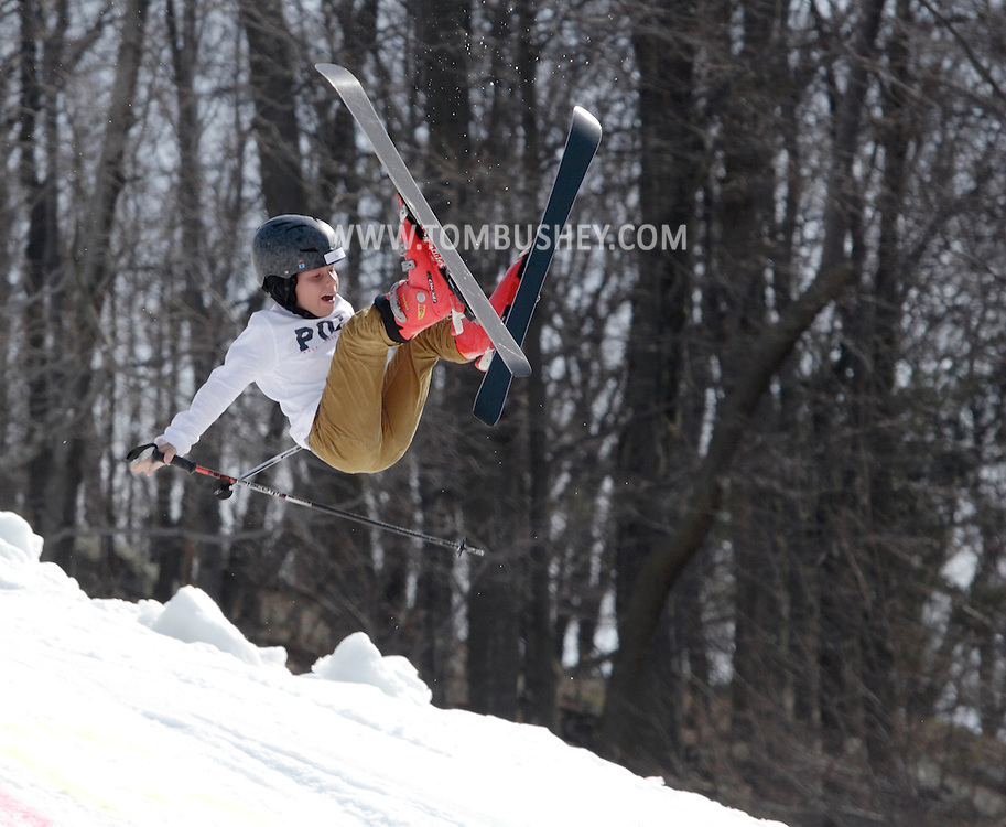 Warwick, New York - A young skier loses control after flying off a jump during the annual Spring Rally at Mount Peter Ski and Ride on March 21, 2010.