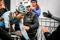 Wout VAN AERT of Belgium after winning the Men Elite race, UCI Cyclo-cross World Championship at Bieles, Luxembourg, 29 January 2017. Photo by Pim Nijland / PelotonPhotos.com | All photos usage must carry mandatory copyright credit (Peloton Photos | Pim Nijland)