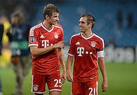 FUSSBALL   CHAMPIONS LEAGUE   SAISON 2013/2014   VORRUNDE Manchester City - FC Bayern Muenchen        02.10.2013 Thomas Mueller und Philipp Lahm (v.l., beide FC Bayern Muenchen) freuen sich nach dem Abpfiff