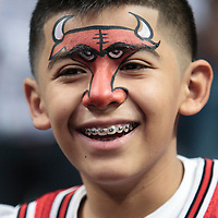 30 October 2010: A young fan smiles prior to the Chicago Bulls 101-91 victory over the Detroit Pistons at the United Center, in Chicago, Illinois, USA.