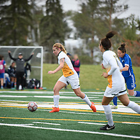 4th year forward Brianna Wright (7) of the Regina Cougars during the Women's Soccer Homeopener on September 16 at U of R Field. Credit: Arthur Ward/Arthur Images