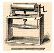 English inventor Lewis Paul's (d1759) cylinder wool carding machine and needle stick. Engraving after his specification drawing for the machine which he patented in 1748. From 'Great Industries of Great Britain' (London, c1889).