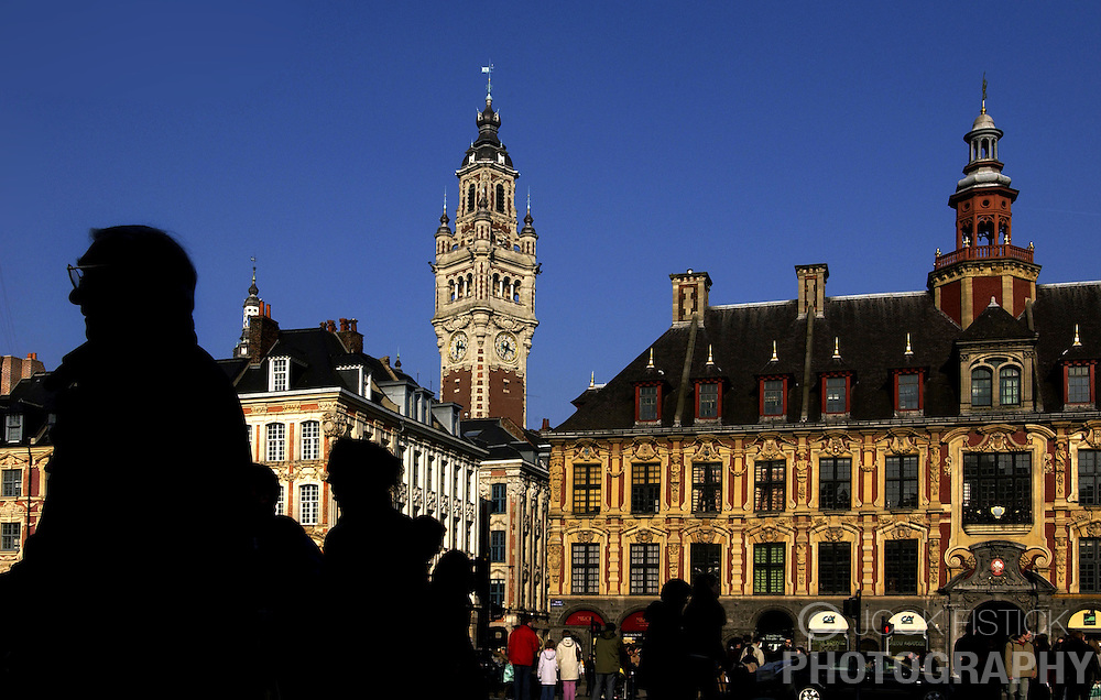 LILLE , FRANCE - FEB-22-2003 - Lille , France has been named the 2004 European Capital of Culture. - Belfry of Chamber of Commerce & Industry (1910-24) - ïVieille bourse' - former stock exchange - 17th Century - Traditional - Historic buildings. (PHOTO © JOCK FISTICK)...