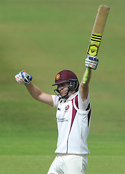 Alex Wakely of Northamptonshire celebrates as he gets a century from 217 balls - Photo mandatory by-line: Dougie Allward/JMP - Mobile: 07966 386802 - 08/07/2015 - SPORT - Cricket - Cheltenham - Cheltenham College - LV=County Championship 2