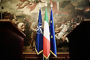 Bandiere della Nato, Italia e Unione Europea esposte durante un incontro istituzionale a Palazzo Chigi sede del Governo. Roma, 25 luglio2013. Christian Mantuano / OneShot <br /> <br /> Flags of NATO, Italy and the European Union exposed during an institutional meeting to Palazzo Chigi, the seat of the government. Rome, 25 luglio2013. Christian Mantuano / OneShot
