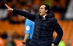 Arsenal manager Unai Emery gestures on the touchline during the Emirates FA Cup, third round match at Bloomfield Road, Blackpool.