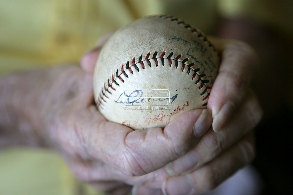 22nd June 2009. Oceanside, California. Robert Tierney who, as a kid in 1939, played baseball with Lou Gehrig. Mr Tierney, has a signed baseball from the New York Yankees star, which he now keeps in a safety deposit box at the bank. PHOTO © JOHN CHAPPLE / www.chapple.biz