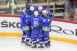 Players of Slovenia celebrate during Ice Hockey match between National Teams of Kazakhstan and Slovenia in Round #4 of 2018 IIHF Ice Hockey World Championship Division I Group A, on April 27, 2018 in Arena Laszla Pappa, Budapest, Hungary. Photo by David Balogh / Sportida
