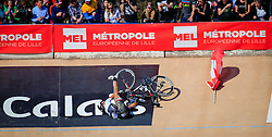 Fabian Cancellara (SUI) Trek-Segafredo tumbles down the steep slope of the Roubaix Velodrome after taking a flag from his fan club for his last time at the end of the 114th edition of  Paris Roubaix 2016 race running 255.5km from Compiegne to Roubaix, France. 10th April 2016.<br /> Photo by Eoin Clarke / PelotonPhotos.com<br /> <br /> All photos usage must carry mandatory copyright credit (&copy; Peloton Photos | Newsfile | Eoin Clarke)
