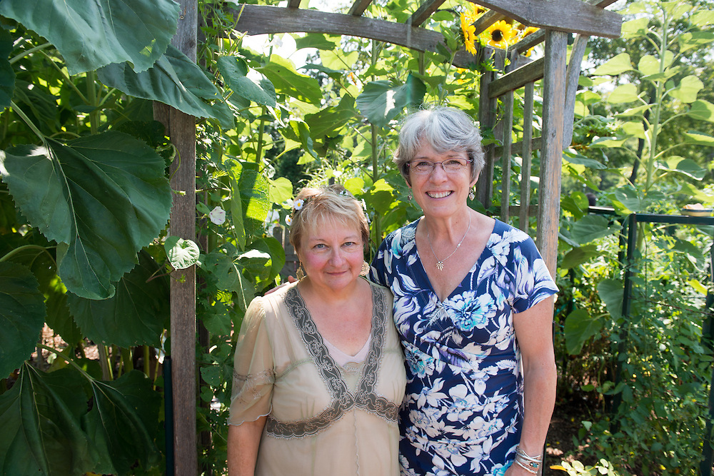 Director Cathy Waller (left) and Assistant Director Terry Swank at the Annual Garden Party at the Child Development Center. Photo by Ben Siegel/ Ohio University
