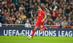 MADRID, SPAIN - Tuesday, November 4, 2014: Liverpool's Lazar Markovic in action against Real Madrid during the UEFA Champions League Group B match at the Estadio Santiago Bernabeu. (Pic by David Rawcliffe/Propaganda)