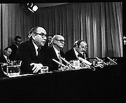 EEC Leaders Meet At Dublin Castle.   (N4)..1979..29.11.1979..11.29.1979..29th November 1979..At Dublin Castle the leaders of the countries within the EEC held a summit conference to discuss issues which would affect the EEC over the forthcoming years..From the top table  Mr Roy Jenkins,President,EEC  Commission,is pictured speaking at the conclusion of the summit in Dublin Castle,also in the photograph are An Taoiseach, Mr Jack Lynch TD,Mr Michael O'Kennedy, Minister for Foreign Affairs and Mr Dermot Nally, Deputy Secretary,Department of An Taoiseach.