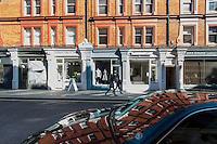 Reflection in a car bonnet in Chiltern Street, Marylebone, London.