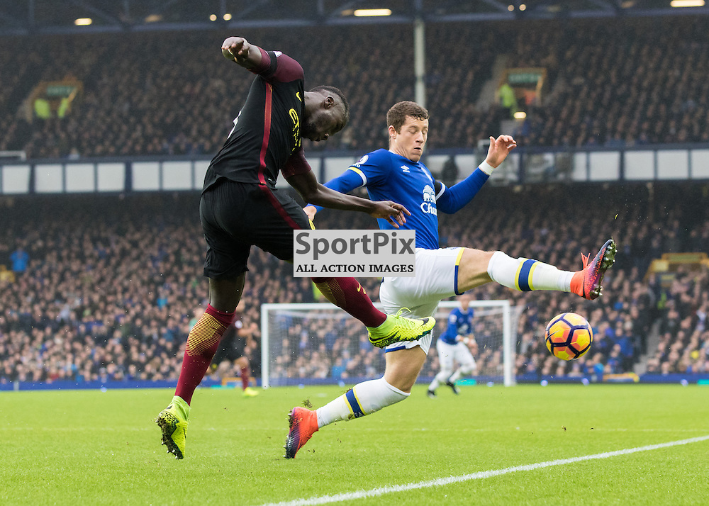 Bacary Sagna of Manchester City clears the danger from Ross Barkley of Everton. Everton v Manchester City, Barclays English Premier League, 15th January 2017. (c) Paul Cram   SportPix