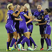 ORLANDO, FL - APRIL 23: Alex Morgan #13 of Orlando Pride celebrates her goal with her teammates against the Houston Dash during a NWSL soccer match at the Orlando Citrus Bowl on April 23, 2016 in Orlando, Florida. The Orlando Pride won the game 3-1.  (Photo by Alex Menendez/Getty Images) *** Local Caption *** Alex Morgan