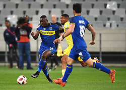 Cape Town-180818 Cape Town City striker Nana Akosah-Bempah tackled by Wayde Jooste  of Golden Arrows in a PSL match at Cape Town Stadium .photograph:Phando Jikelo/African News Agency/ANA