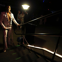Elvis Tribute Artist David Allen, from Dallas Texas, waits at the stage side steps as he is introduced to the audience on Friday morning for his round one performance in the Ultmate Elvis Tribute Artist Competition at the BancorpSouth Arena.