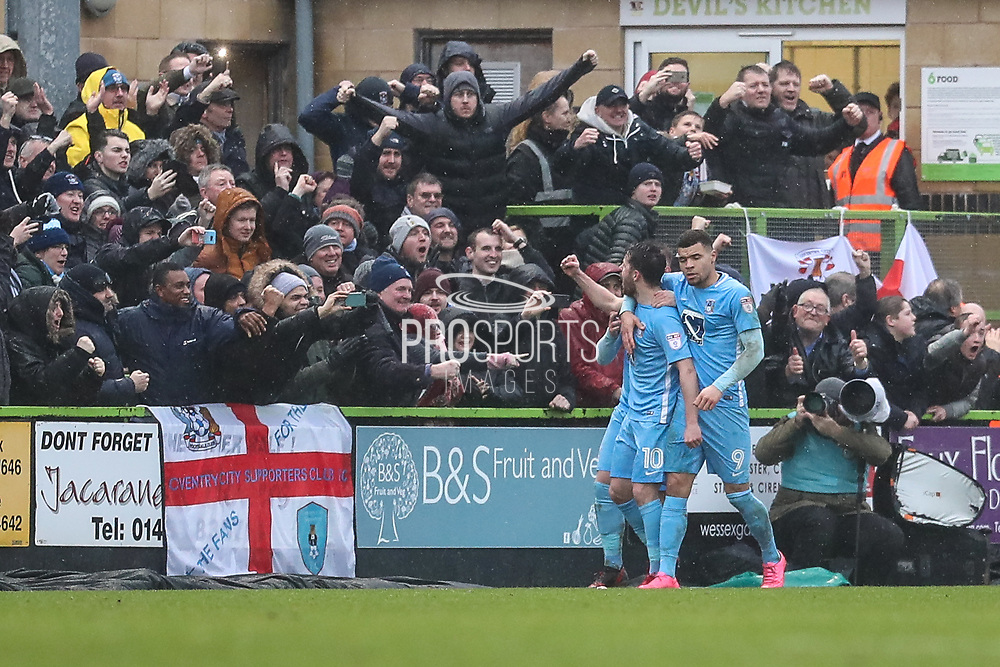 Coventry City's Marc McNulty(10) scores a goal 1-1 and celebrates during the EFL Sky Bet League 2 match between Forest Green Rovers and Coventry City at the New Lawn, Forest Green, United Kingdom on 3 February 2018. Picture by Shane Healey.