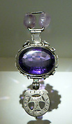 The Cursed Amethyst. Quartz, variety amethyst, silver, amethyst scarabs, engraved  This stone is testament to the properties people ascribed to gemstones, beyond their scientific or monetary value.