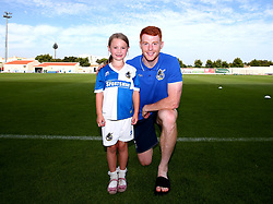 Mascot with Rory Gaffney of Bristol Rovers - Mandatory by-line: Robbie Stephenson/JMP - 18/07/2017 - FOOTBALL - Estadio da Nora - Albufeira,  - Hull City v Bristol Rovers - Pre-season friendly