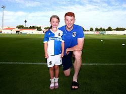 Mascot with Rory Gaffney of Bristol Rovers - Mandatory by-line: Robbie Stephenson/JMP - 18/07/2017 - FOOTBALL - Estadio da Nora - Albufeira,  - Hull City v Bristol Rovers - Pre-season friendly