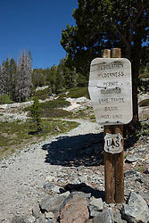 """""""Desolation Wilderness Sign 1"""" - This wood informational sign was photographed at the start of Desolation Wilderness above Echo Lake."""
